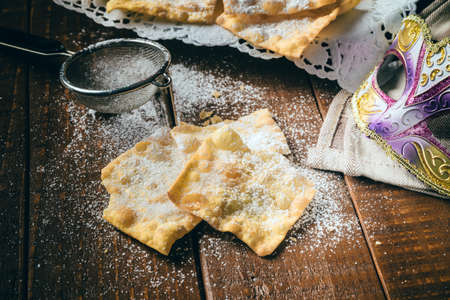 chiacchiere: Chiacchiere, traditional italian carnival pastry Stock Photo