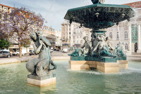 Lisbon, Portugal - May 9, 2017: Fountains in Rossio Square