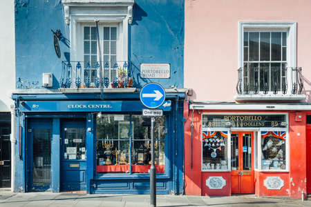 London, United Kingdom - May 25, 2017 : Shops of Portobello Road