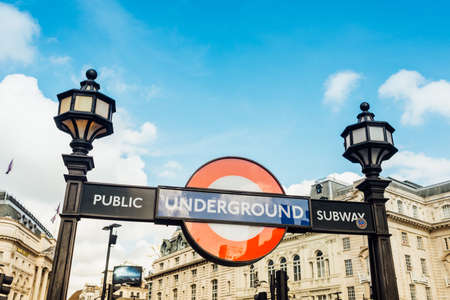 London, United Kingdom - May 23, 2017 : Underground sign at Piccadilly Circus