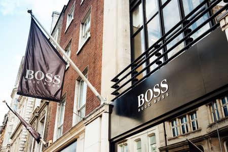 teaches: London, United Kingdom - May 23, 2017 : Teaches shop of Hugo Boss in New Bond St, Mayfair Editorial