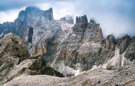 Top Catinaccio  Rosengarten and Towers of the Vajolet, Dolomites Stock Photo