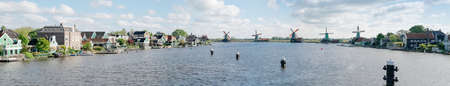 Panorama of Zaanse Schans windmills - Netherlands
