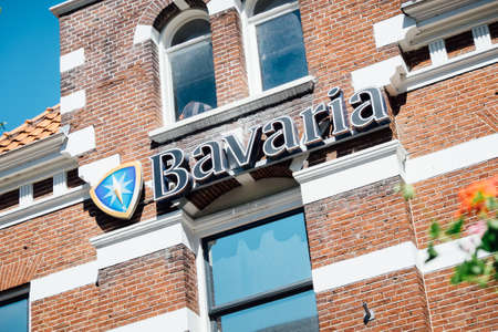 Utrecht, Netherlands - May 15, 2019: sign that advertises Bavaria beer