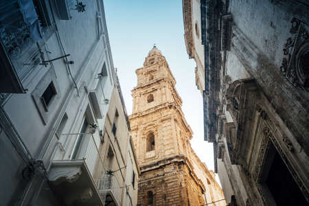 Monopoli, Puglia Italy - Thursday 22 August 2019: bell tower of the Madonna of the Madia cathedral