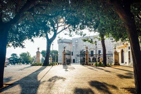 View from the municipal garden of Villa Garibaldi del Castello and Piazza della Concordia in Conversano, Puglia Italy