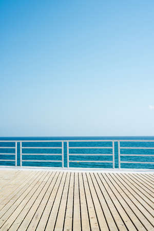 sea sky: wooden floor sea  blue sky space for text Stock Photo