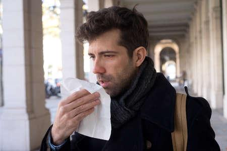 hankie: Man constipated with handkerchief
