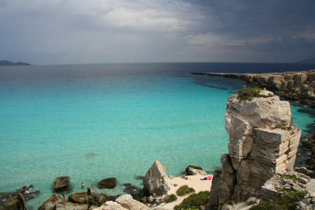 egadi: view of Cala Rossa in Favignana before a summer storm Stock Photo