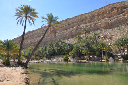 The Wadi Shab with emerald green water  Stock Photo