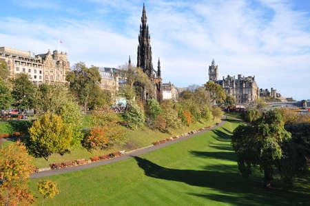 View of old Edinburgh from Princes Street Gardens
