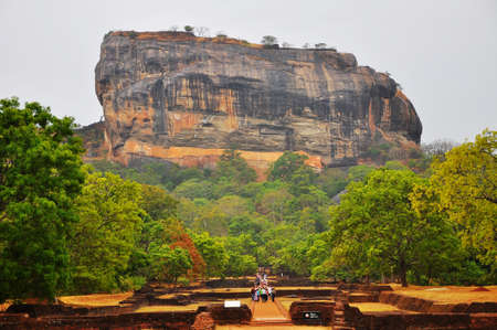 lions rock: Sigiriya. Lions rock. Place with a large stone and ancient rock fortress and palace ruin. Sri Lanka