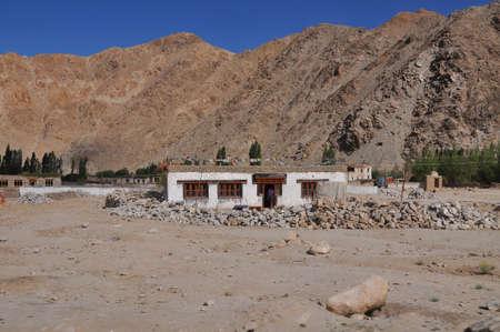 tibetan house: Tibetan House in Jammu-Kashmir Ladakh ,India Stock Photo