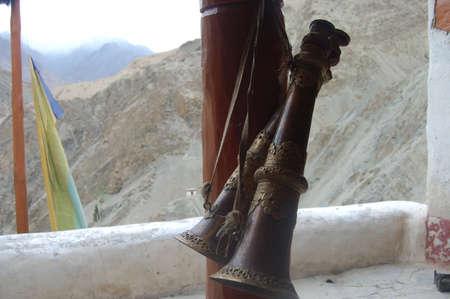 gelugpa: Buddhist prayer horns Stock Photo