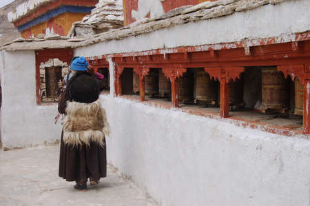 gompa: People in Lamayuru monastery