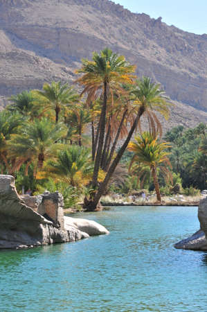 bani: Waterpool in Wadi Bani Khalid Oman Stock Photo