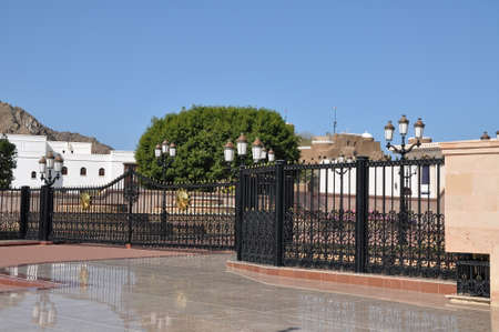 muttrah: Entrance of Al Alam Palace in old Muscat Oman