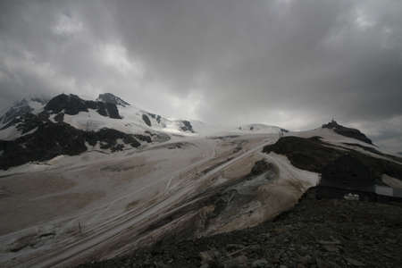 aosta: panoramic view of the glacier Plateau Rosa, Aosta Valley - Italy