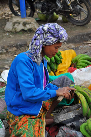 developing country: raditional market on the street in the Sulawesi Region of Indonesia