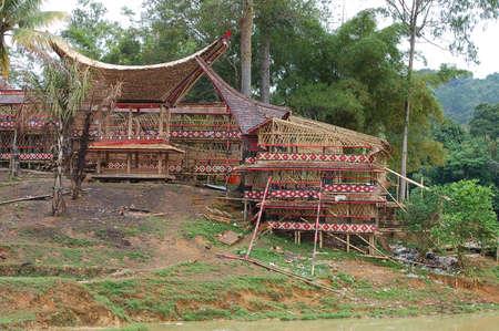 toraja: Traditional homes of the Torajas people on Sulawesi island. Indonesia.