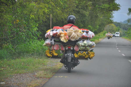 toraja: Motorbike with fruit and vegetables for sale on the road Editorial