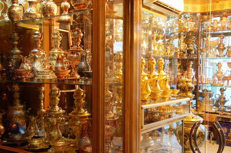 Traditional iranian souvenirs in market Bazaar in Isfahan Iran Editorial