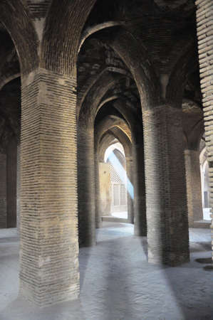 Architecture details of the Jameh Mosque of Isfahan, Iran.