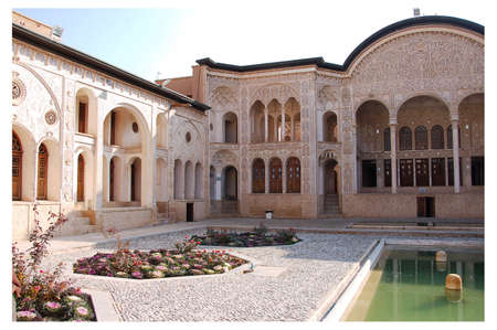 Courtyard of the Tabatabaei House, a historic house in Kashan, Iran Editorial