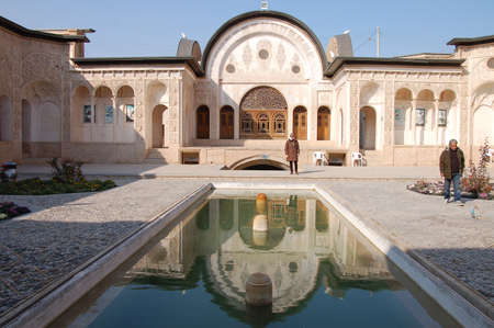 historical building: Courtyard of the Tabatabaei House, a historic house in Kashan, Iran Editorial