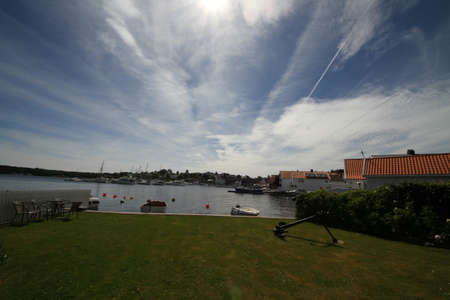 A calm summers day in Marina Kristiansand Lillesand, Norway Banco de Imagens