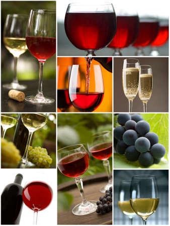 와인: 구 사진에서 만든 빨간색과 흰색 와인 콜라주