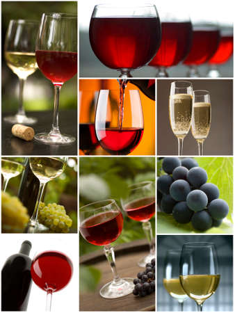 red and white wine collage made from nine photographs photo