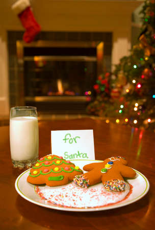 a couple of festive Christmas cookies for Santa Claus photo