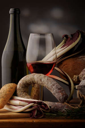 cabernet: Traditional Italian red wine cabernet and salami