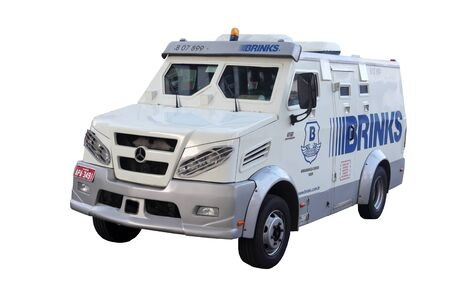 Picture of an armored brazilian money transporter on white background.