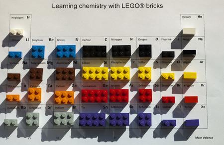 Alcobendas Spain April 24 2016 Periodic Table With Lego Bricks
