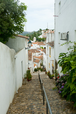 Rural street in Castelo de Vide, Alentejo, Portugal. Stock Photo