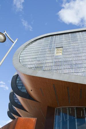 Alcobendas, Spain, june 28, 2017. Photovoltaic facade detail.Alcobendas, belong to Centro de Arte de Alcobendas. Equipped with ecological installations, it generates its own energy from its windows.