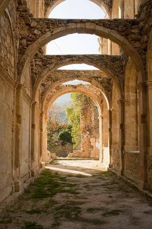 Stone arcs in abandoned monastery de Rioseco.Burgos province, Spain.