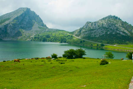 Mountain lakes in summer cloudy day. Covadonga.