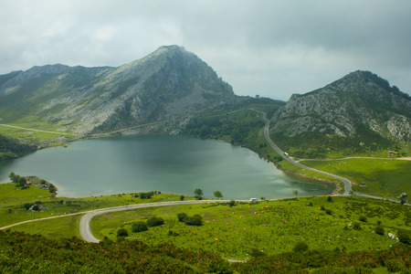 Covadonga mountain lakes in summer cloudy day. Banco de Imagens
