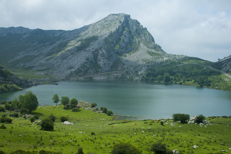 Covadonga mountain lakes in summer cloudy day. Banco de Imagens - 120659252