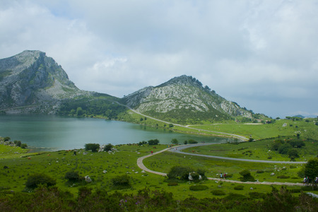 Beautiful nature of Spain: Covadonga mountain lakes in summer cloudy day. Banco de Imagens - 120659253