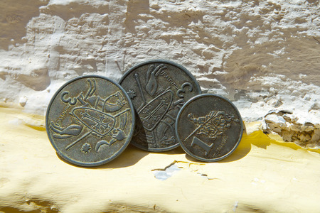 Old coins minted for the celebration of the Alburquerque medieval festival Banco de Imagens - 120659159
