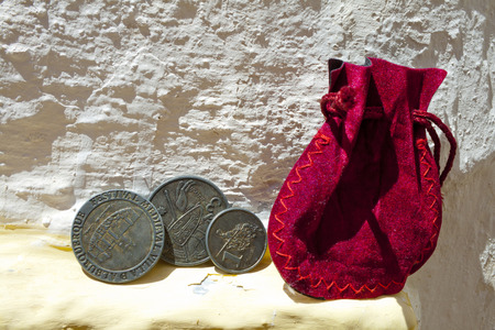 Old coins minted for the celebration of the Alburquerque medieval festival Banco de Imagens - 120659163