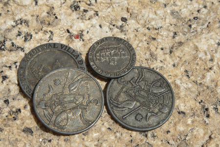Old coins minted for the celebration of the Alburquerque medieval festival Banco de Imagens - 120659160