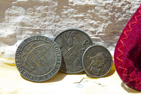 Old currency minted for the celebration of the Alburquerque medieval festival Banco de Imagens - 120659161