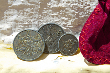 Vintage coins minted for the celebration of the Alburquerque medieval festival Banco de Imagens