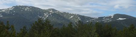 View of snowy peaks of the Sierra de Guadarrama