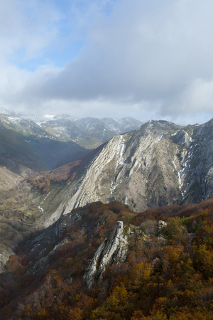 Mountains with beech forests in the north of Spain. Banco de Imagens - 120659143
